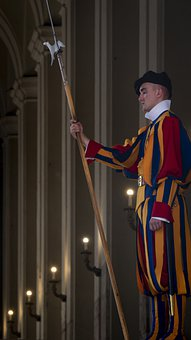 Man, Guard, Uniform, Spear, Swiss Guard, Rome, Italy
