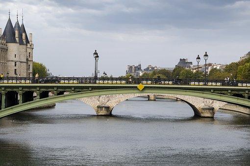 Architecture, Bridge, River, Water, City, Urban, Seine