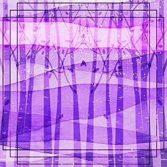 Forest, Trees, Digital Paper, Birch, Purple, Texture