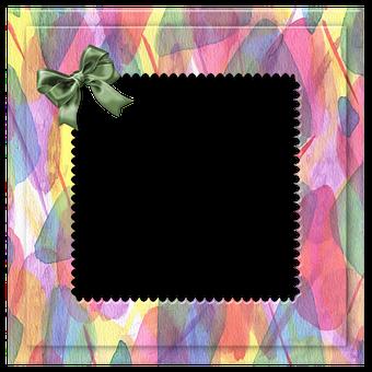 Frame, Bow, Decor, Border, Watercolor, Colorful, Ribbon