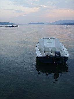 Boat, Lake, Speedboat, Calm Waters, Horizon, Jetty