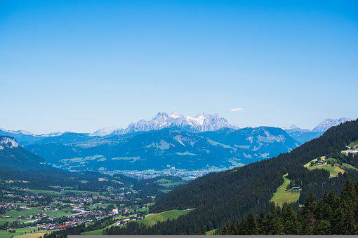 Valley, Town, Mountains, Landscape, Village, City, Alps