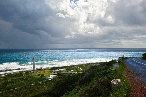 Lighthouse, Coastline, Waves, Coast, Building