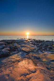 Coast, Sea, Sunset, Sun, Sunlight, Skyline, Horizon