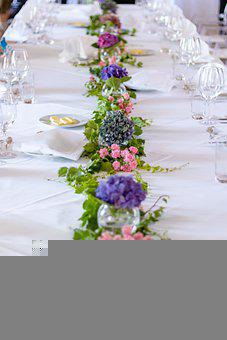 Table, Flowers, Glassware, Cutleries, Table Set-up