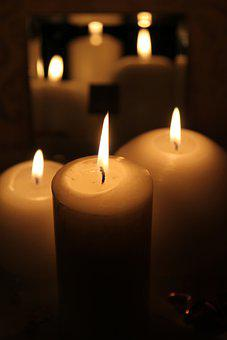 Candles, Flames, Mirror, Camdlelights, Burning, Wick