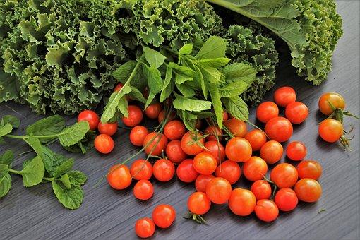 Cherry Tomatoes, Lettuce, Basil, Salad, Fresh, Organic
