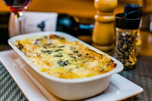 Lasagna, Pasta, Meal, Dish, Plate, Cheese, Food