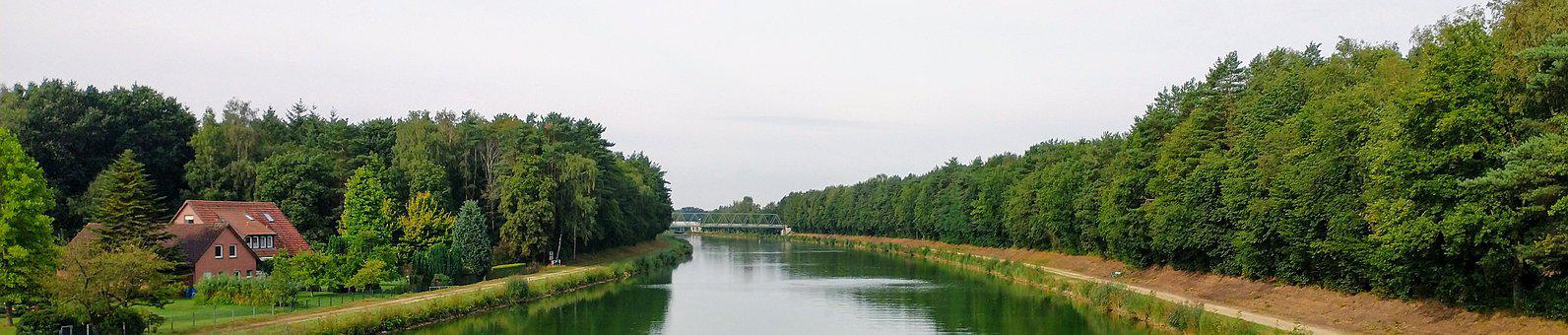 Channel, River, Trees, Bank, House, Lower Saxony