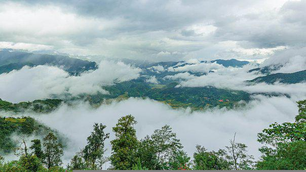 Mountains, Clouds, Rice Paddies, Sea Of Clouds, Valleys