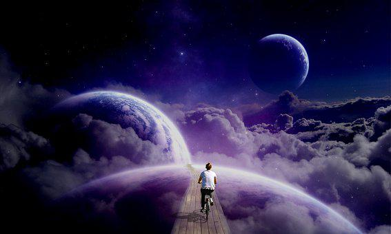 Clouds, Cycling, Planets, Space, Girl, Woman, Female