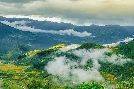 Mountains, Rice Paddies, Rice Terraces, Clouds