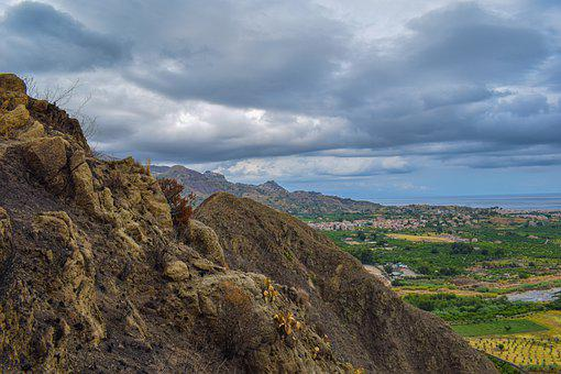 Mountains, Rocks, Town, Village, Clouds, View, Sicily