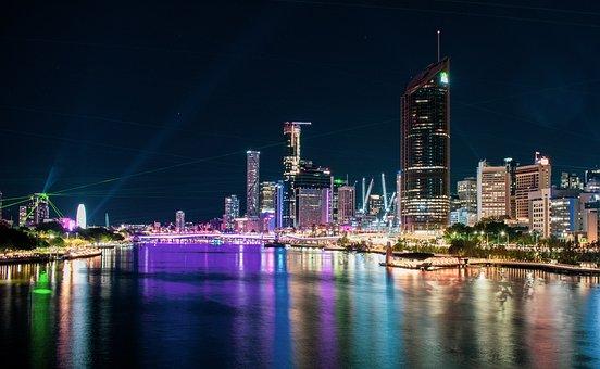 Skyline, Light Show, Lasers, Illuminated, Neon Lights
