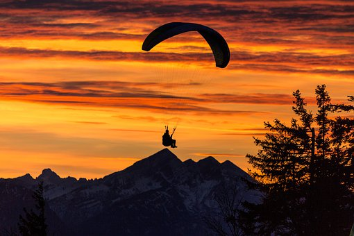 Paraglider, Parachute, Sunset, Man, Adventure, Dusk