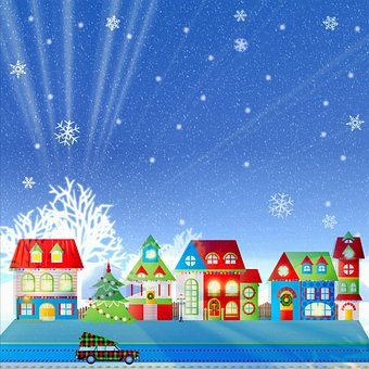 Houses, Tree, Snow, Frost, Ice, Winter, Christmas