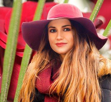 Woman, Hat, Fashion, Beauty, Makeup