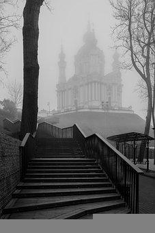 Church, Fog, Stairs, Ukraine, Kyiv, City, Architecture