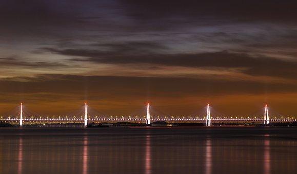 Bridge, River, City, Illuminated, Water