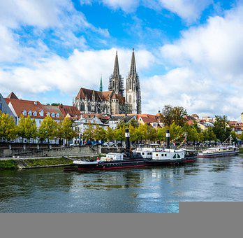 Regensburg, Dom, Middle Ages, River, Boats, City