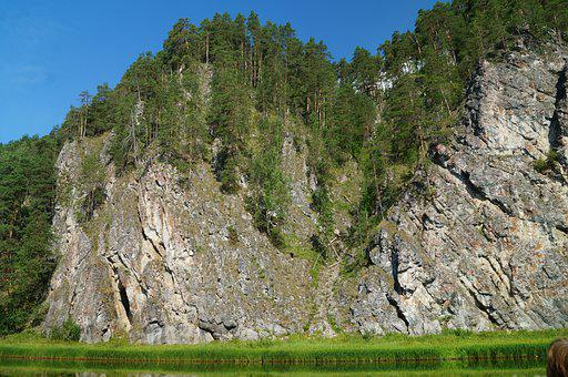 Mountains, Cliffs, Trees, Lake, Forests, Rocks