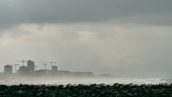 Port, Sea, Mist, Ocean, Storm, Beach, City, Europe
