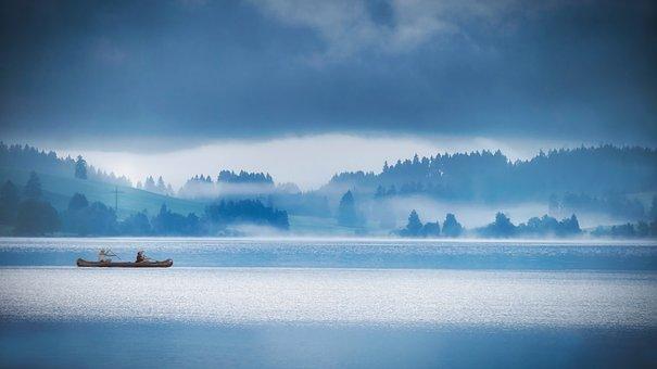 Lake, Boat, Canoe, Canoeing, Fog, Trees, Forest