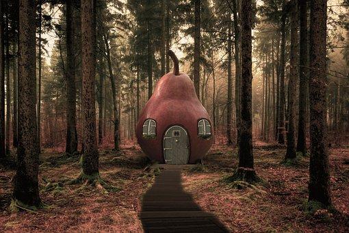 Surreal, House, Pear, Pear House, Path, Lane, Trail