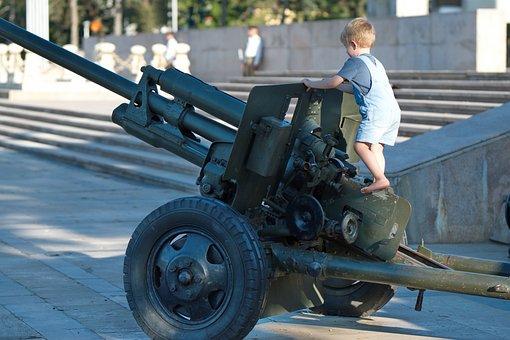 Child, Cannon, Park, Little Boy, Boy