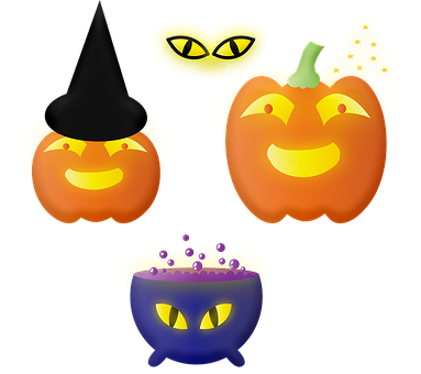 Halloween, Jack-o'-lanterns, Pumpkins, Cauldron