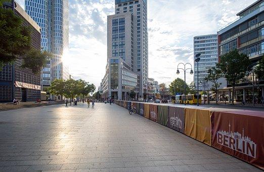 Sidewalk, City, Buildings, Road, Walkway, Skyscrapers