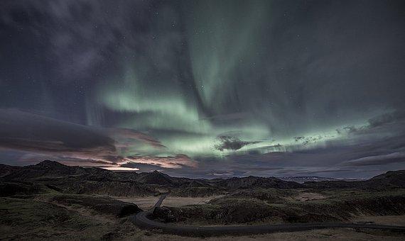 Aurora Borealis, Hills, Road, Trees, Forest, Sky, Night