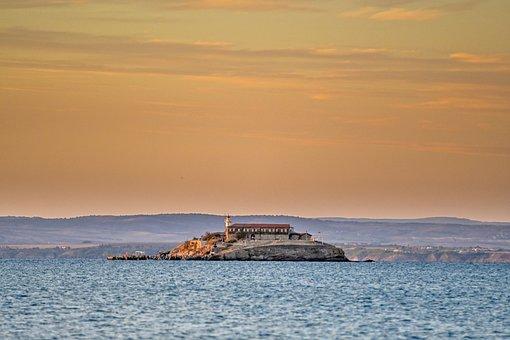 Island, Buildings, Sea, Ocean, Sunset, Sky, Mountains