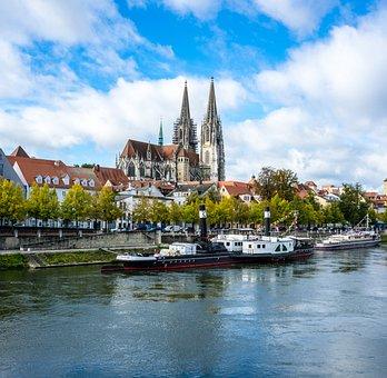 River, Boats, Town, Village, Church