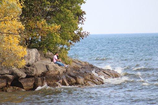 Couple, Lovers, Rocks, Coast, Lake, Waves, Nature