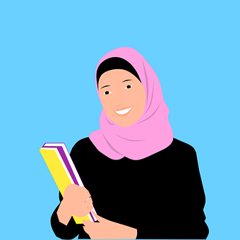 Islamic, Woman, Hijab, Muslim, Cartoon, Books, Smiling