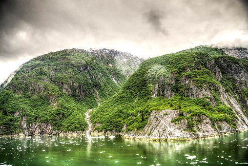 Hdr, Tracy Arm Fjord, Alaska, Juneau, Mountains, Scenic