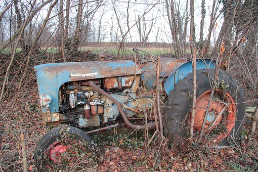 Tractor, Abandonment, Plants, Brianza, Rusty, Old, Junk