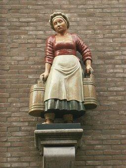 Image, Statue, Milk Girl, Milk, Bucket Deventer