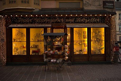 Shop Window, Candlemaker, Gingerbread Maker, Evening