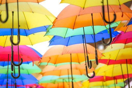 Colorful Umbrellas, Colour, Rain, Joyful Mood, Optimism