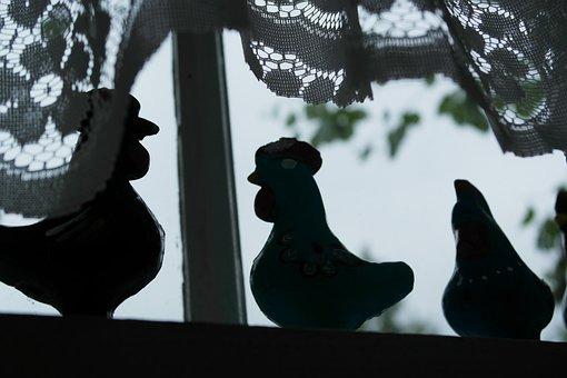 Cock Whistle, Crochet Curtain, Summer, Window, Light