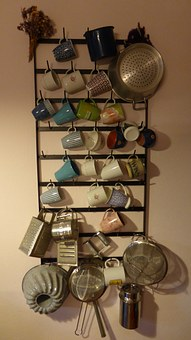 Kitchen Shelf, Shelf, T, Kitchen, Country House, Cup