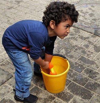 Little Boy, Play, Water Gun, Bucket, Close, Cute