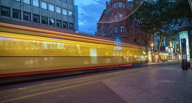 Karlsruhe, Tram, Abendstimmung, Long Exposure, Drive