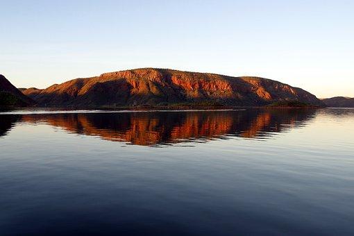 Lake Argyle, Australia, Water, Mirroring, Dusk