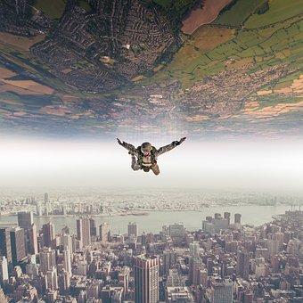 Parachutist, Fall, Sky, Landscape, Nature, Fly, Fantasy
