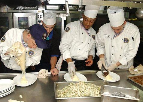 Kitchen, Culinary, Cooks, Helpers, Preparing, Food