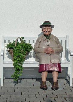 Doll, House Flowers, Bank, Grandmother, Humor