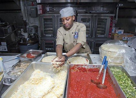Kitchen, Helper, Table, Preparation, Preparing, Pizza